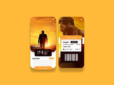 Logan Movie Mobile UI yellow mockup user interface design user interface user experience movie app mobile design mobile app mobile app ux ui design