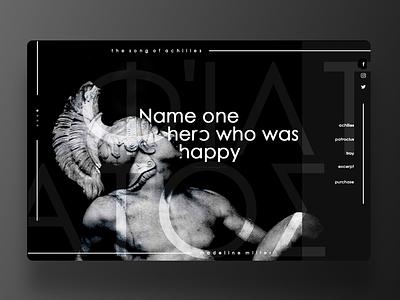 Landing Page UI : The Song of Achilles desktop design design user interface uiux mockup mock up user experience grey black landing page landing page design ui desktop