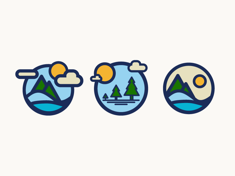 Outdoorsy Badges outdoors landscape sun trees mountains