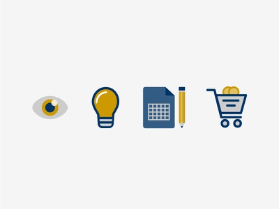 CPG Icons consumer packaged goods cpg shopping cart graph paper lightbulb eye checkout shop icons