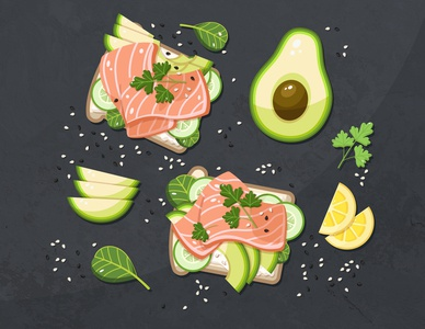 sandwiches with salmon tasty avocado salmon sandwich illustration food illustration food