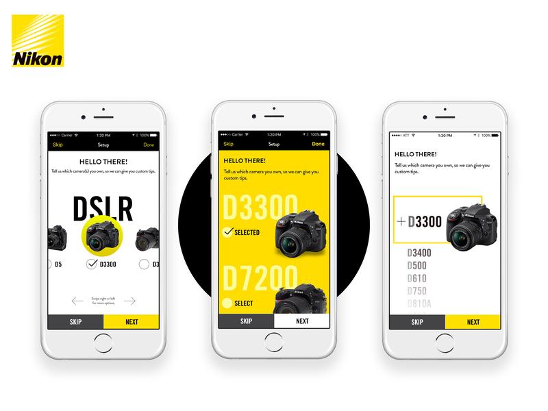 Nikon Mobile App UI Exploration interaction design mobile setup