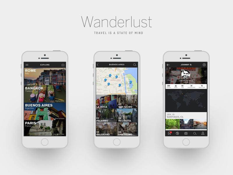 Wanderlust Mobile App Designs uidesign travel mobile app mobile