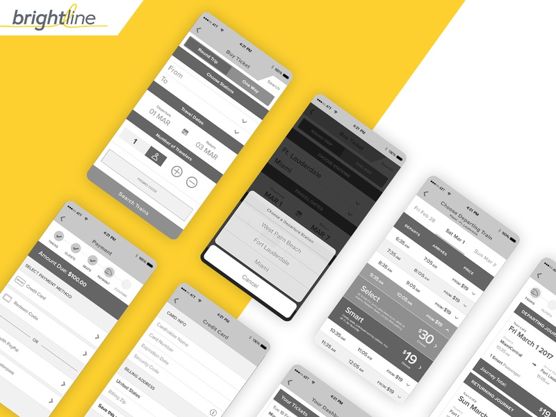 Brightline mobile app booking flow wireframes train booking mcommerce ecommerce ux wireframes mobile app design mobile app mobile