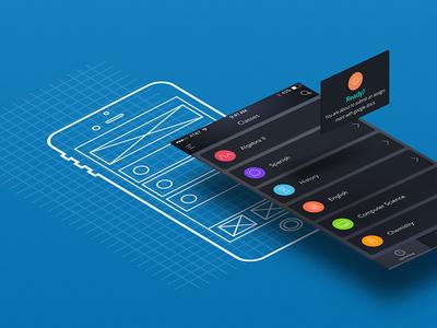 UX to UI Process Illustration mockup wireframe blueprint
