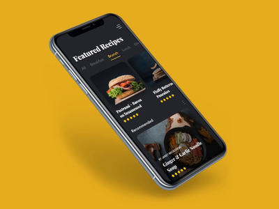 Recipe Mobile App Prototype Using Principle slider featured recipes recipe app food principleapp prototyping prototype design mobile ux ui