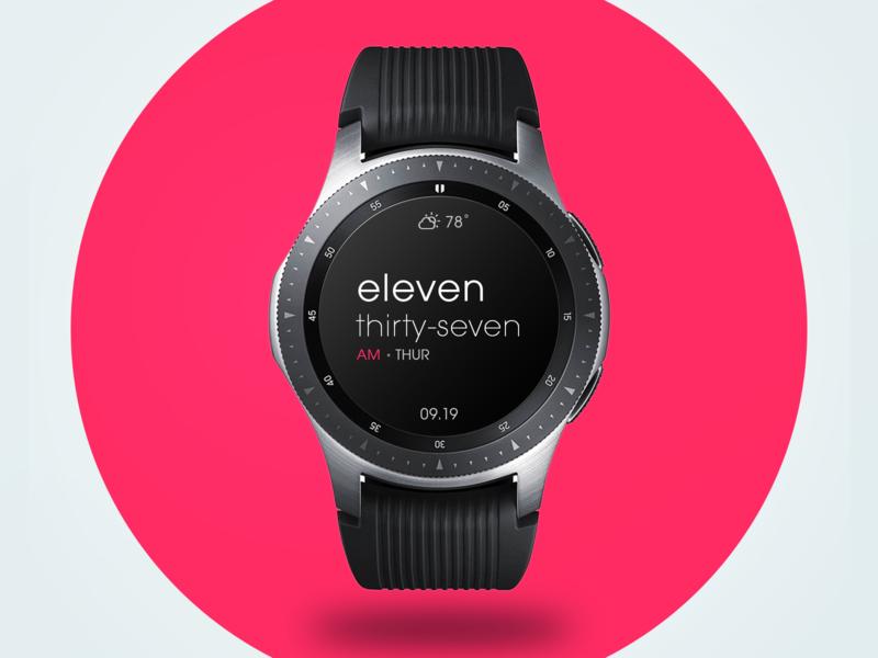 Typographic Samsung Galaxy Watch Face clean minimal watchface galaxy watch ui design smartwatch watch