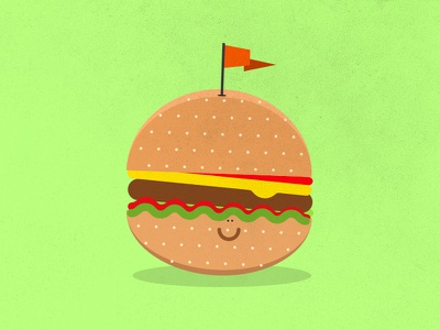 Happy Burger bun flag burger