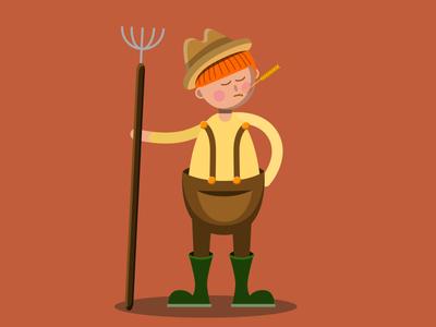 Farmer farming character farmer