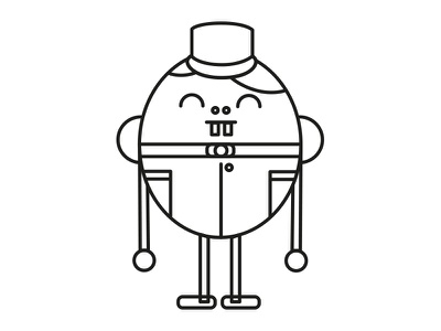 Eggstatic black and white line vector character