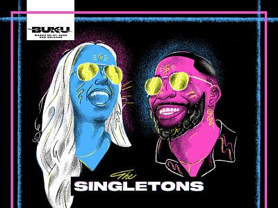 The Singletons are TOO BUKU procreate style festival music portraits design illustration