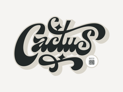 Cactus round sharp groovy chunky funky design type branding advertising logo handlettering lettering illustration typography