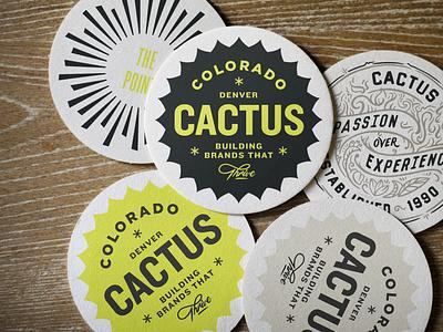 Cactus Coasters design identity brand handlettering illustration logo badge lettering typography