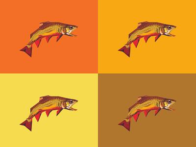 Trout design fishing trout river nature fish icon geometric wpap art illustration
