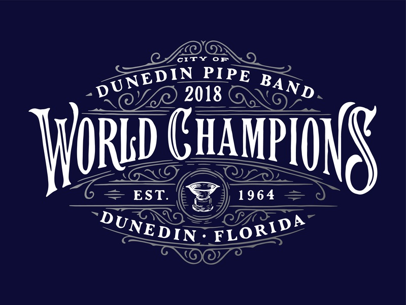 World Pipe Band Champions custom decorative victorian vector apparel shirt branding identity handlettering illustration lettering typography logo