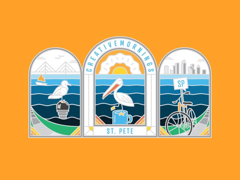 Creative Mornings Triptych monoline bike pelican design branding blue poster vector bay area professional friends community city vibe tropical orange florida st pete tampa illustration