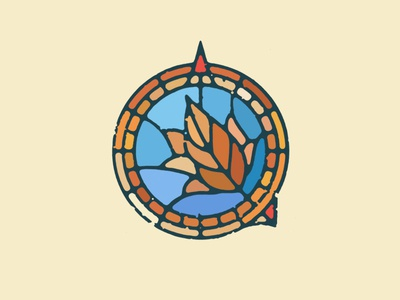 Southeast Herbals water blue brown fall warm art direction point distressed symbol illustration logo compass