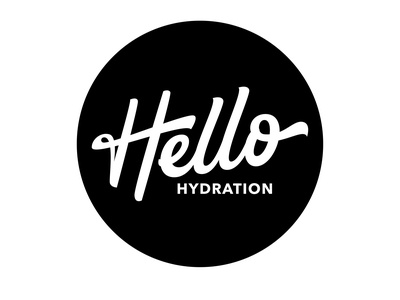 Hello Hydration - Modern Typography Logo calligraphy artist calligraphy logo handtypography handlettering business logo hydration design inspiration modern design circle logo custom lettering vector creative hand drawn design logo portfolio logotype typography lettering modern logo