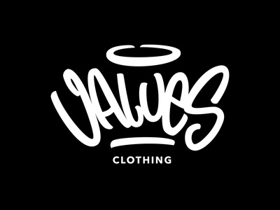 Values Clothing - Street Wear Logotype hand drawn typo branding apparel logo clothing logo handtypography logo street wear custom logo typography hand lettering lettering graphic design