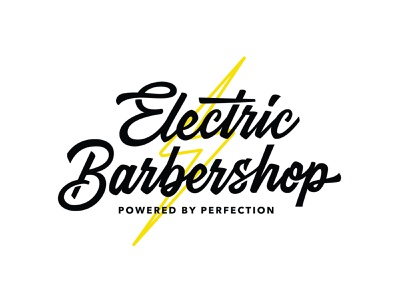 Electric Barbershop electric logotype logodesigner logodesign barbershop barber logo portfolio hand drawn hand lettering handlettering lettering custom creative calligraphy brush typography vector logo design