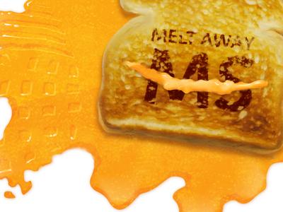 Melt Away MS Postcard Illustration illustration cheese toast digital