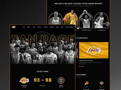 Los Angeles Lakers Fan Website website sport team basketball team team la lakers sport basketball ui ux landing page figma web design design
