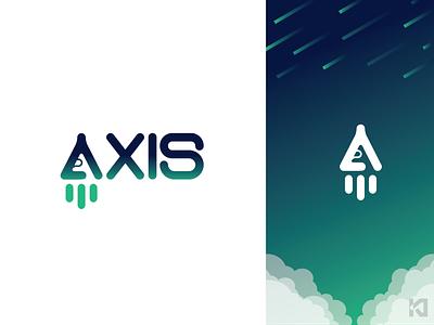 AXIS axis rocketship rocket gradient icon design logo vector illustration