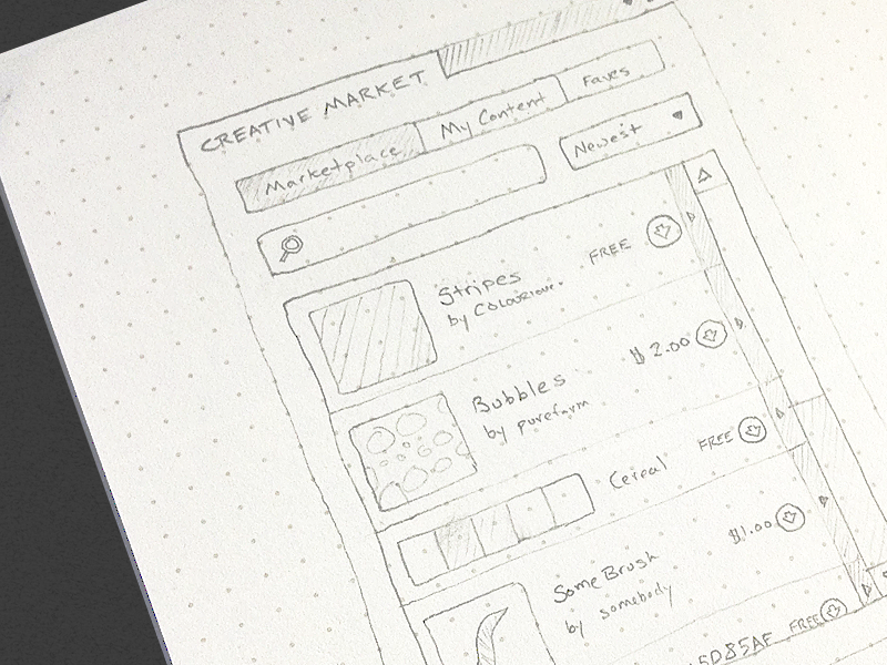 Launched! Creative Market PS Extension photoshop wireframe sketch