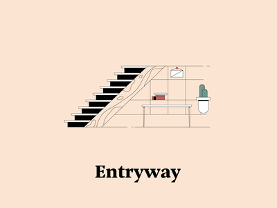 E is for Entryway hallway entryway stairs illustrationchallenge dwellingsfromatoz