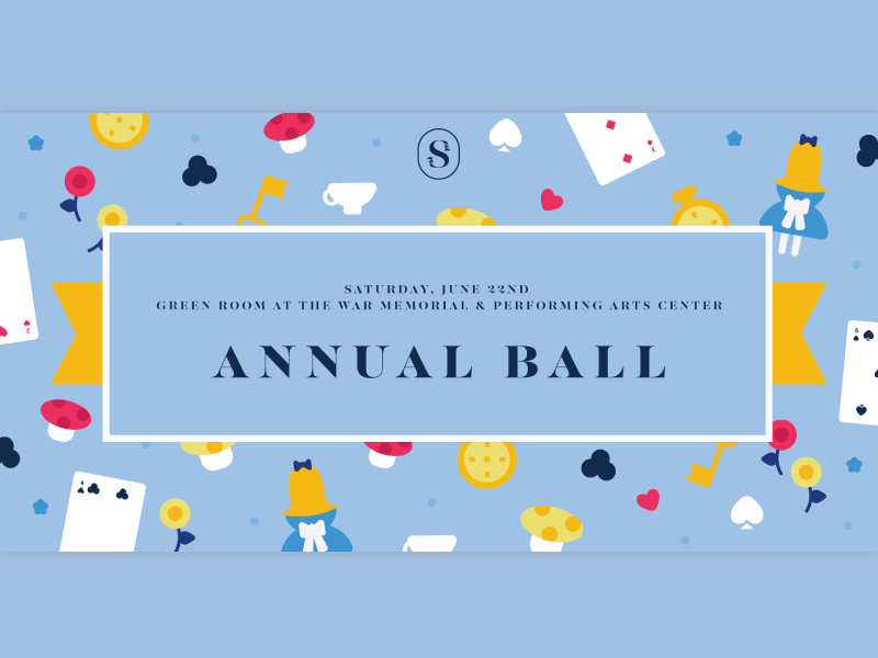 Annual Ball 2019 invitation illustration spinsters cards aliceinwonderland