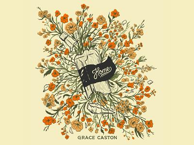 Grace Caston - Home EP Artwork ep shirt design wild flowers shattering broken glass album artwork album home country folk whiskey bottle bottle design print design hand lettering illustration