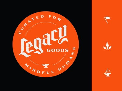 Legacy Goods - Branding flag lightning anvil curated goods legacy goods legacy logotype logo brand identity branding
