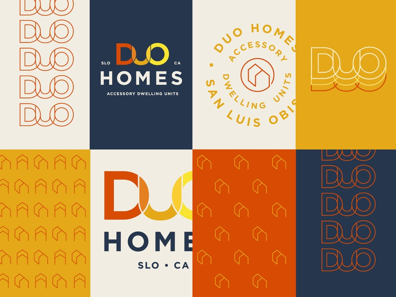 Duo Homes Logo california san luis obispo duo homes duo adu accessory dwelling units accessory dwelling units branding architect architechture logo
