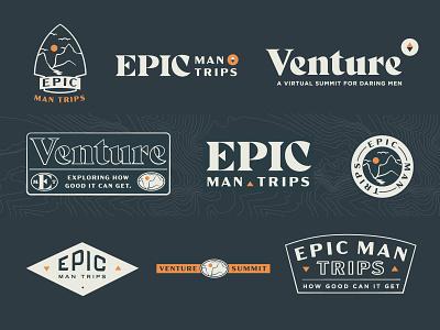Epic Man Trips + Venture Summit identity system branding logo retreats trips epic