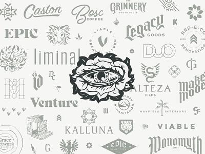 Logo Compilation freelance eye logos illustration hand lettering logo branding lettering