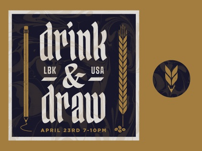 Drink and Draw Night Lubbock pencil hops event logo draw night draw texas lubbock drink and draw drink