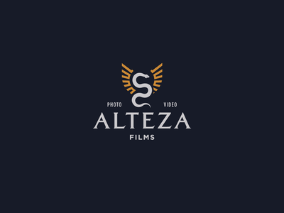 Alteza Films Logo filmmaker films mayan kukulkan wings snake logo branding