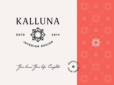 Kalluna Interior Design origami typography type kalluna branding logo interior flower interior design