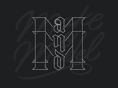 Make and Model sign painter blackletter type design typedesign hand lettering handlettering