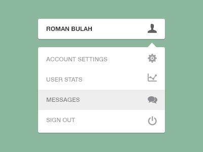Dropdown Menu UI upload signout user setting ui dropdown menu freebie psd icons messages