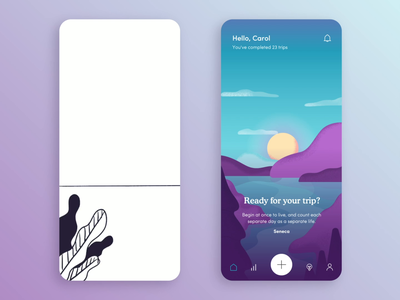 Trip — Mental Health App Animations lucid mindfulness clouds landscape tripping digital product trip application app mental health progress design z1 sketching illustration animation drafts concept