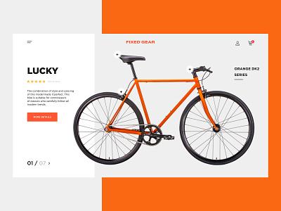 Fixie Lucky Bike website typogaphy landing bicycles bicycle web orange ux ui bike design