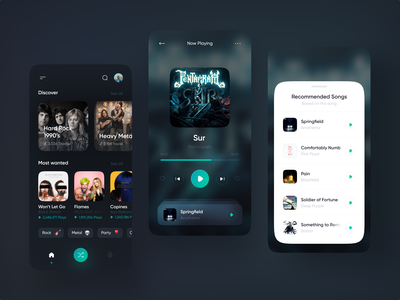 PlayerX – Modern Music Player ui ux music music player music app darkui dark playlist clean blur player mobile app design application song artist album ios dark theme