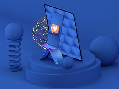 Digital bank illustration ui c4d app design illustration