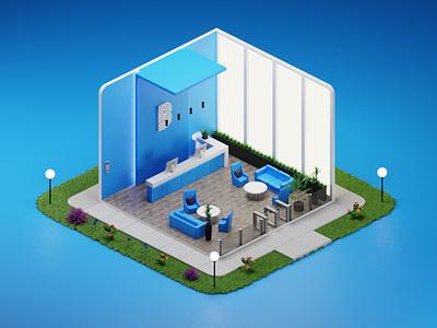 Reception area design blender 3d ui