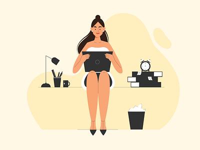 Office Time dailyui color affinitydesigner characterdesign illustration website 2d afftereffects gif people art vector
