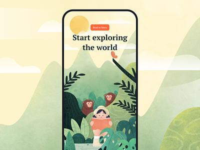 Start Explore The World plants girls monkey jungle books flat app people characterdesign affinitydesigner 2d illustration dailyui color art vector
