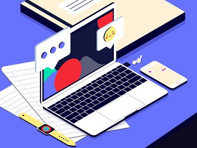 Workplace II like store concept color creative message work job isometry vector design macbookpro business dailyui app design apple illustrator illustration clean ui