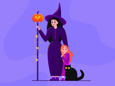 Happy Halloween! mother mysticism monsters webdesign color app website witchcraft flat artwork artist family halloween party cat dailyui art vector illustration witch halloween