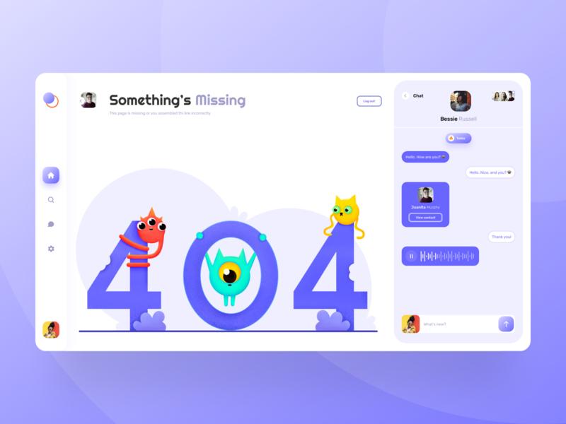 404 error creative concept artwork characterdesign 2d website design cleanui monsters messenger chat ui website design business dailyui color art app illustration vector